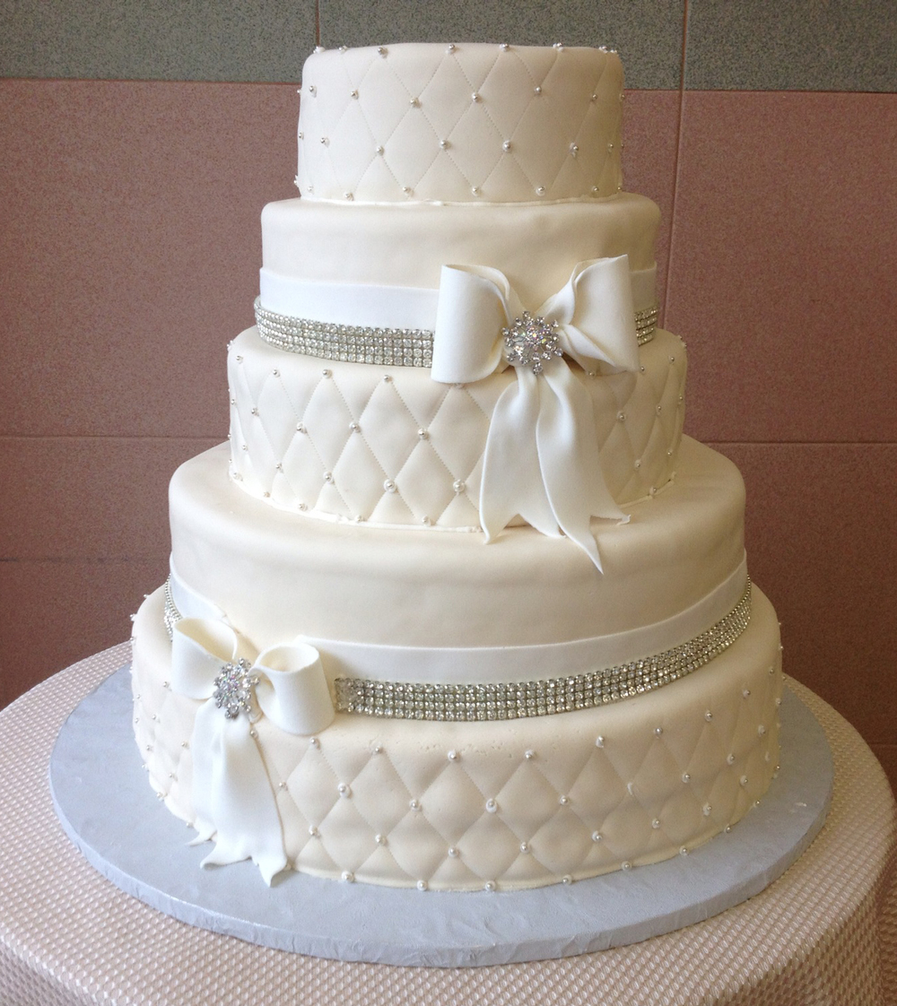 Ivory Rolled Fondant, Quilted, White Rolled Fondant Bow & Band, Crystals
