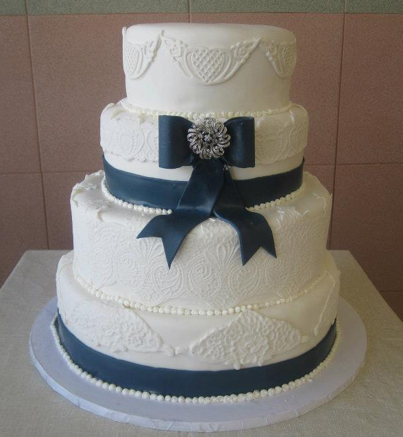 Rolled Fondant with Patterned Banding & Navy Blue Rolled Fondant Ribbon & Bow