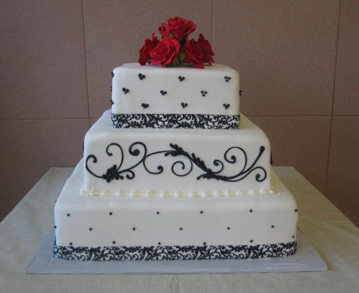 Rolled Fondant with Material Ribbon, Black Butter Cream & Red Rolled Fondant Roses