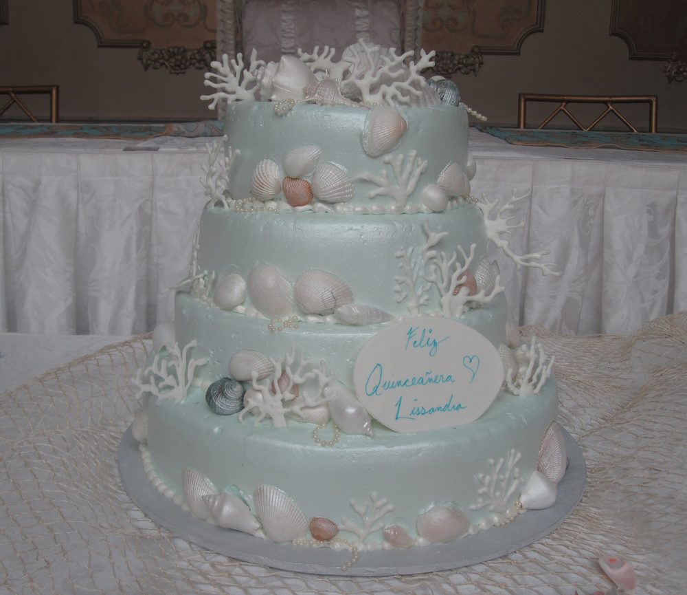 Light Blue Butter Cream, Natural Seashells & Coral. Pearlized