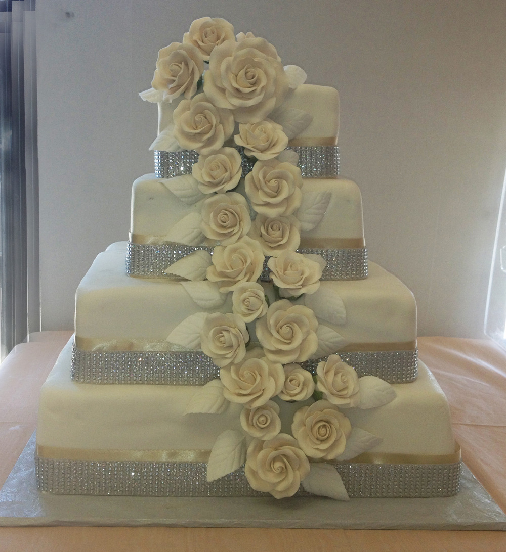 50 Rolled Fondant Material Ribbon & Faux Crystals, with Cascading Ivory Rolled Fondant Roses & Leaves