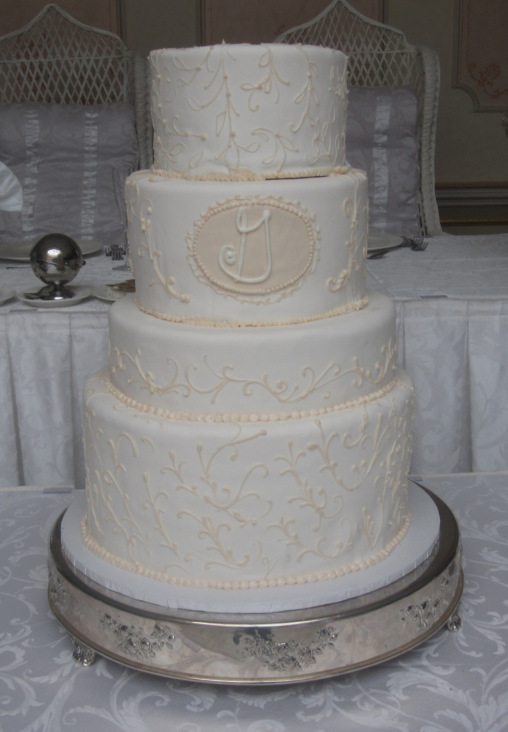 Rolled Fondant Double Tier & Single Tier with Light Scrolls & Monogram