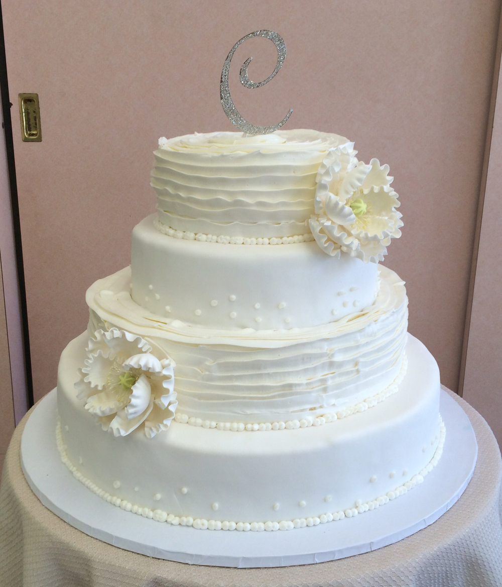 Rolled Fondant with Scattered Butter Cream Pearls, Wrapped Butter Cream with Large Peony