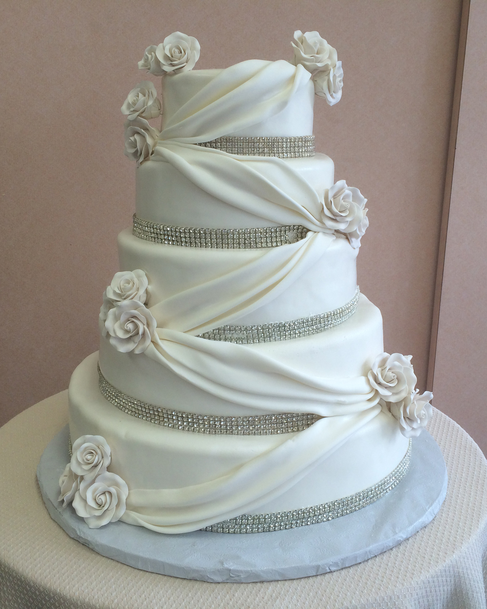 46 with Swarovski Crystals & White Rolled Fondant Roses