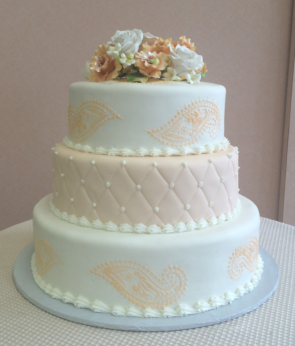 Rolled Fondant with Peach Stenciling, Quilting & Assorted Fondant Flowers