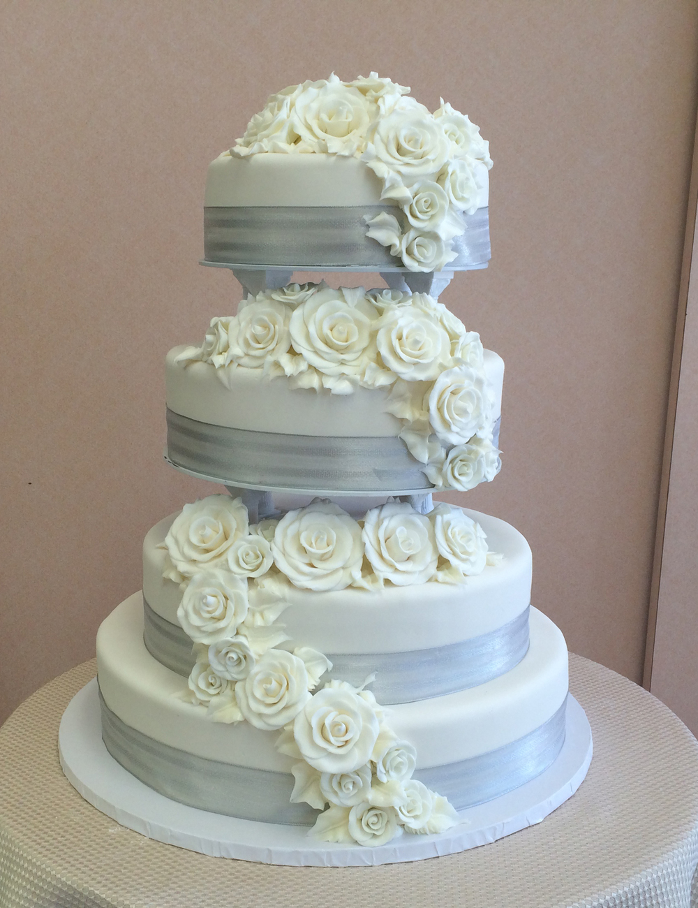 wedding cake silver ribbon contemporary wedding cakes sal amp dom s pastry shop 24552