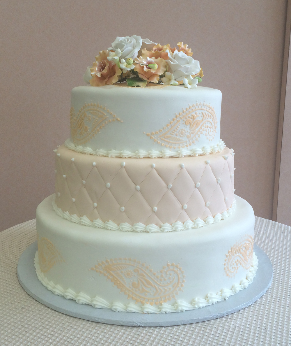 Rolled Fondant with Peach Stenciling, Quilting & Assorted Fondant Flowers.jpg