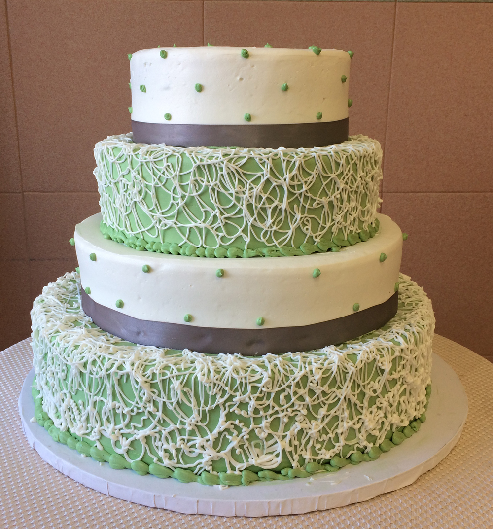 Colored Butter Cream with Fine Lace Butter Cream & Material Ribbon