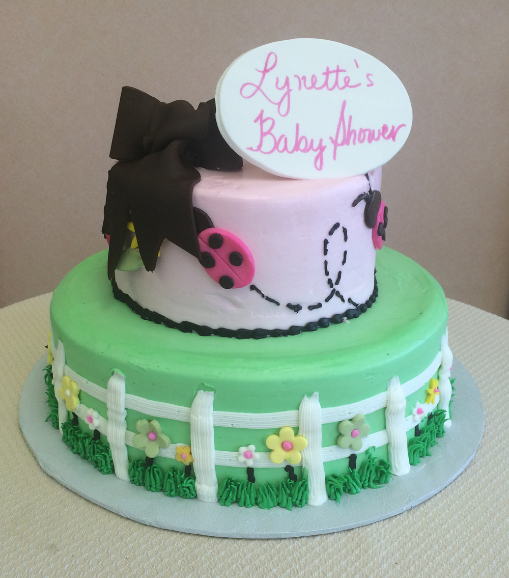 Garden in Butter Cream with Lady Bugs & Bow