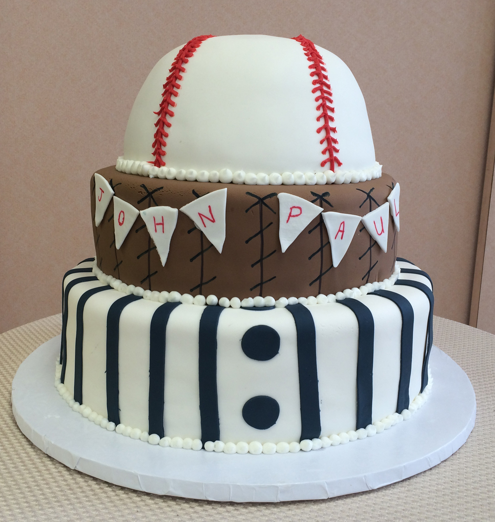 Rolled Fondant Baseball Theme with Pinstripes, Glove, Pennants, & Baseball Tier