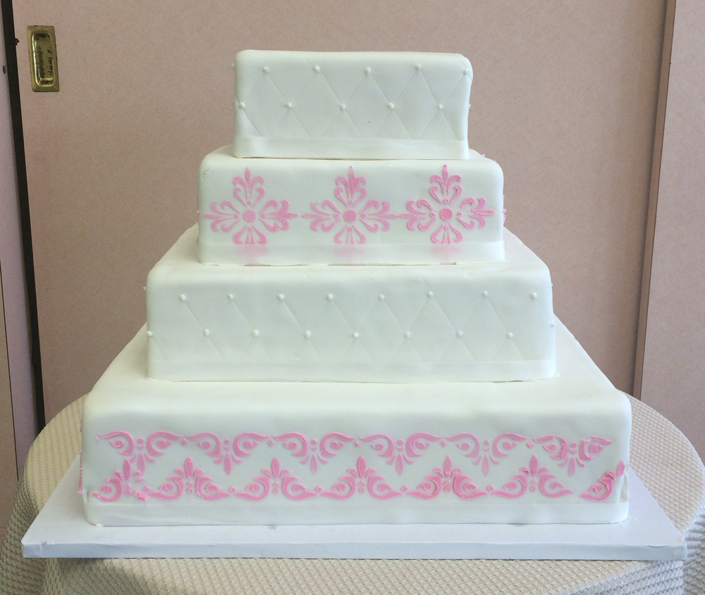 White Rolled Fondant, Square, with Stenciling in Pink & Quilted