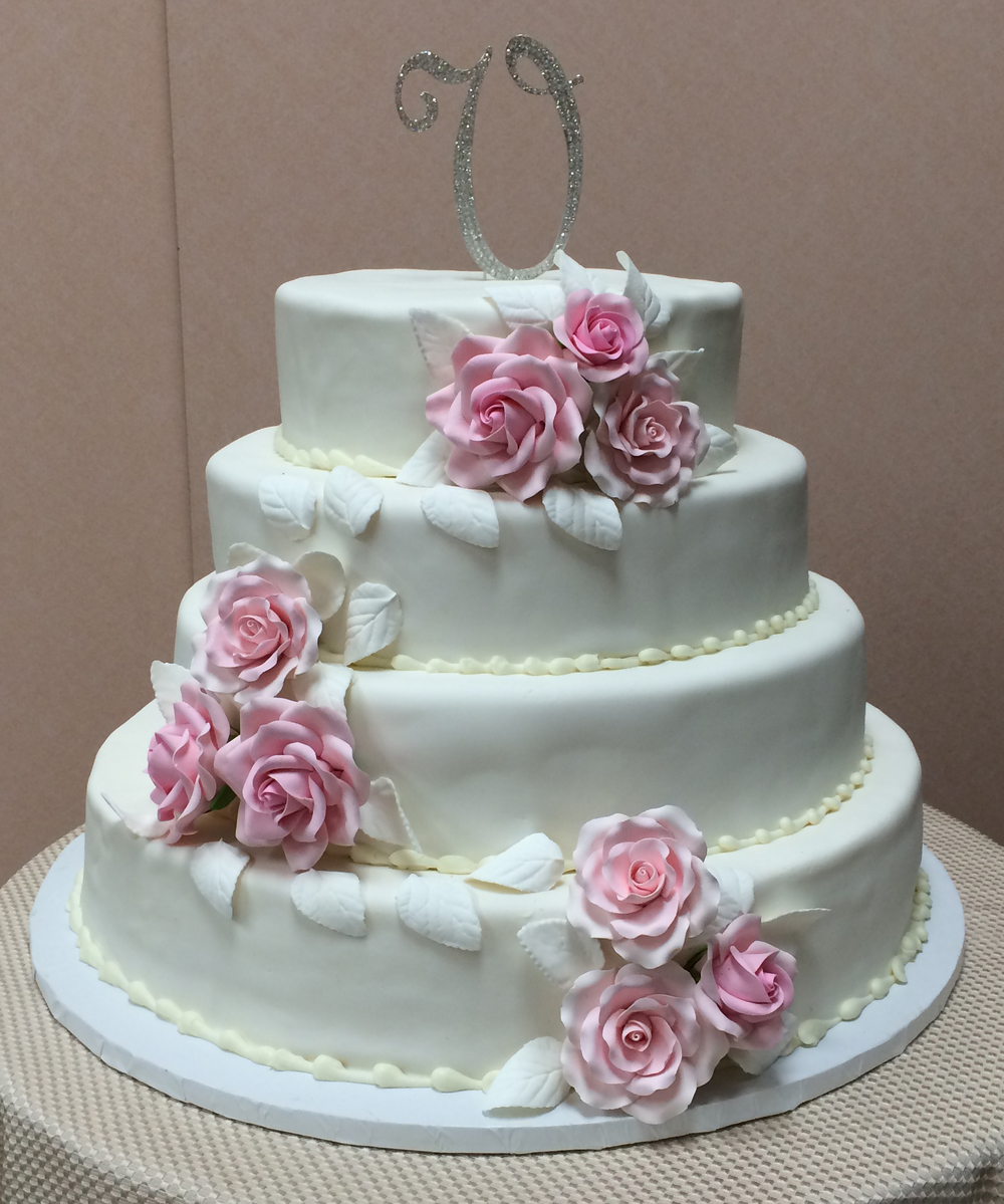 White Rolled Fondant with Fondant Roses & Leaves