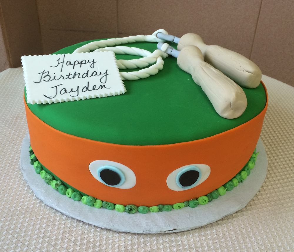 Rolled Fondant Ninja Turtle with Nunchucks