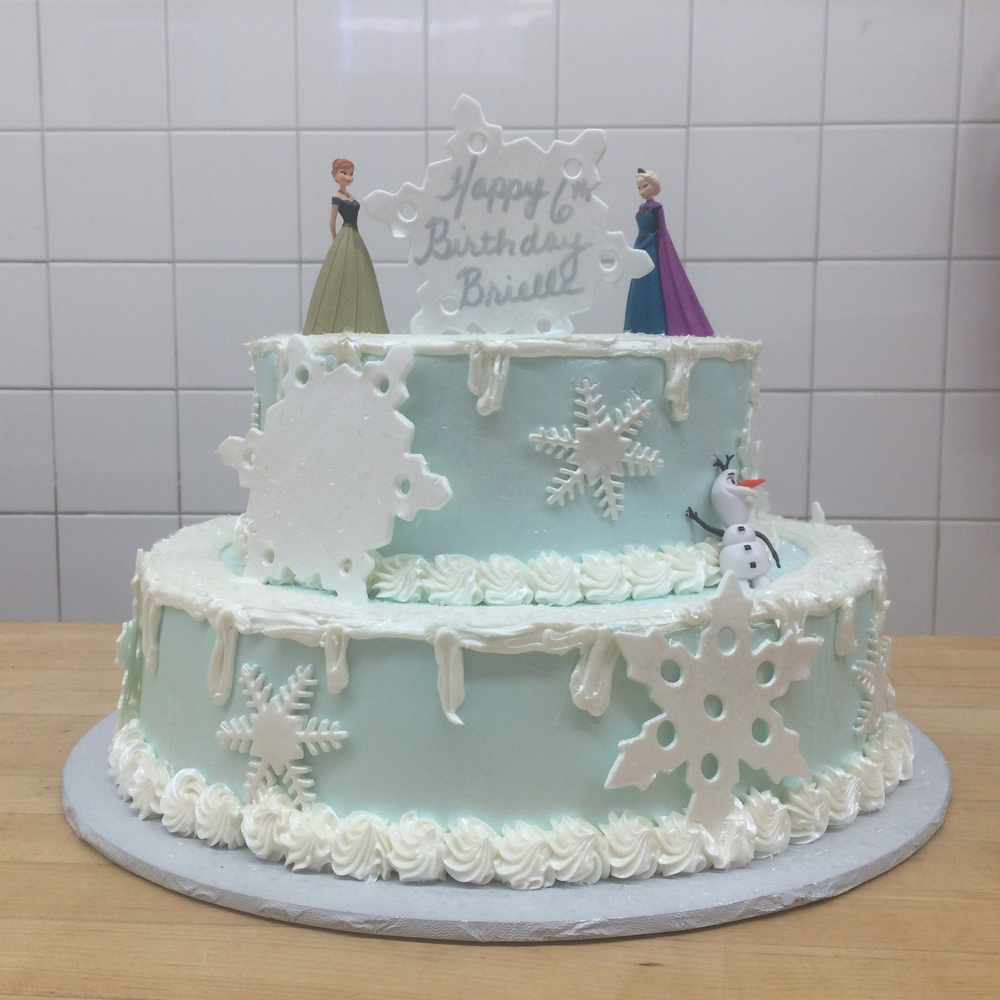 Butter Cream 2-Tier Frozen with Snow Flakes & Figures