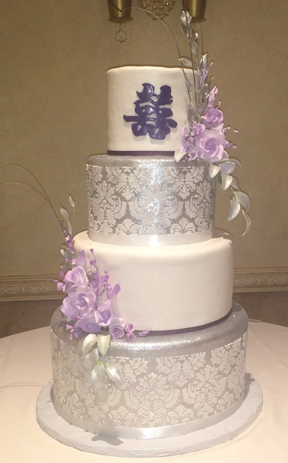Silver Dusted With White Damask Stenciling Lavender Floral Spray.jpg