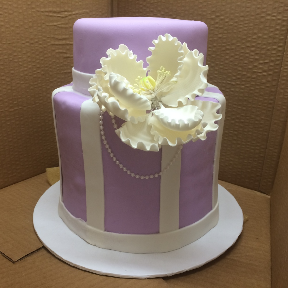 Lavender Rolled Fondant.Double Tier Vertical Stripe.Single Tier Horizontal Stripe Large Peony.jpg