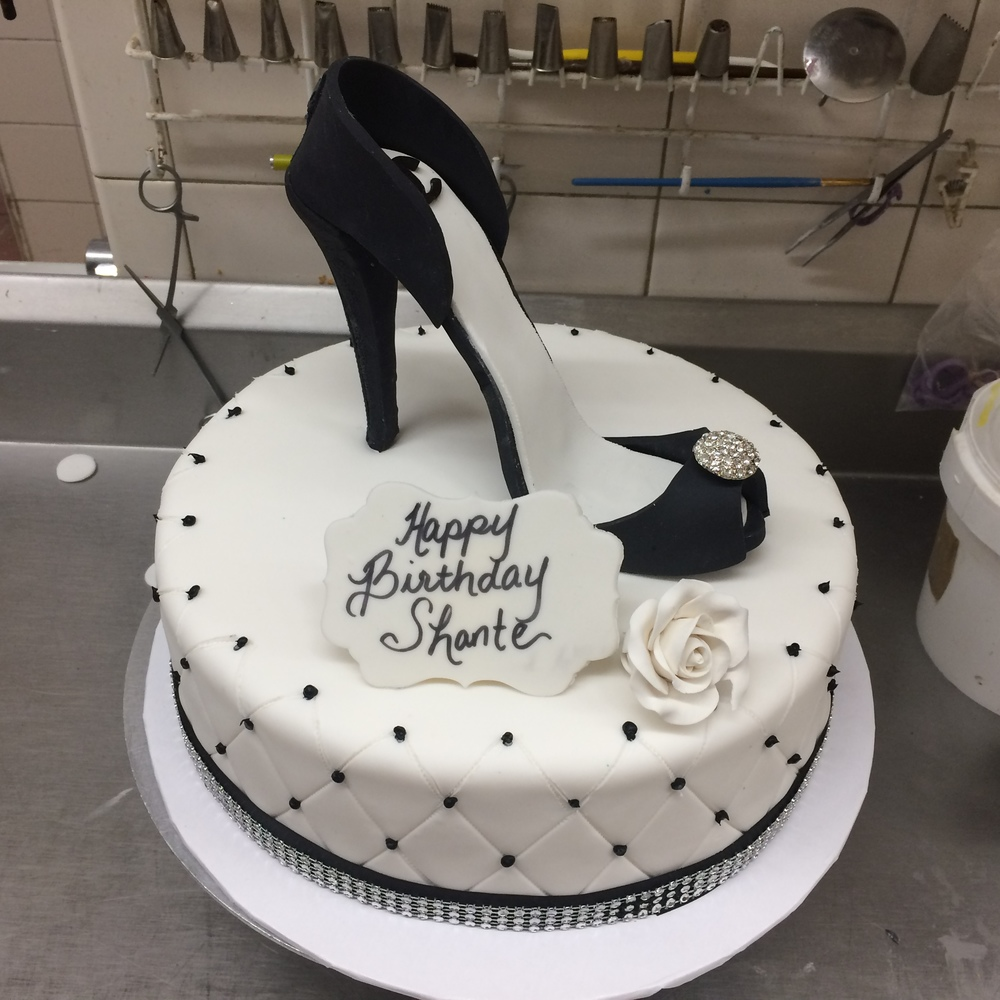 White Rolled Fondant Black & White High Heel. Quilted with Ribbon & Faux Crystals.jpg