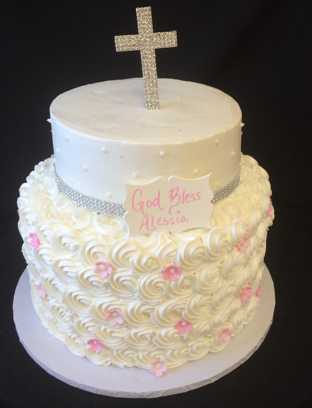 Lg rosette cake with fruit blossoms . Faux crystals Crystal Cross.jpg