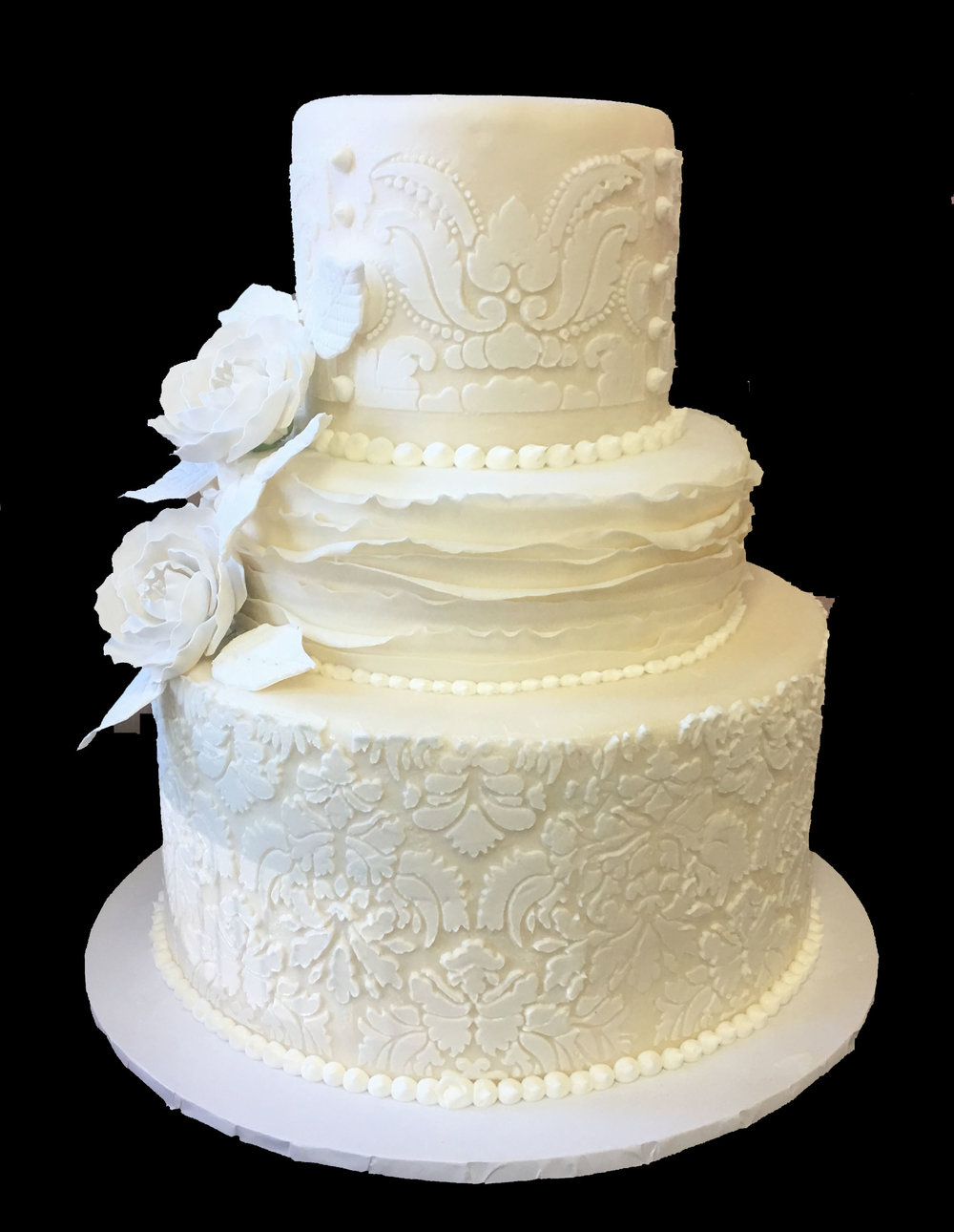 Ivory Rolled Fondant Double Tiered with Stenciling. Ruffled Rolled Fondant. Briar Roses.jpg