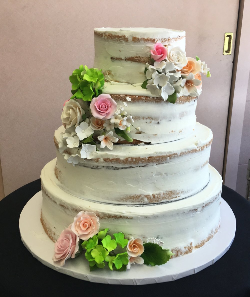 Nude Cake with Fondant Flowers