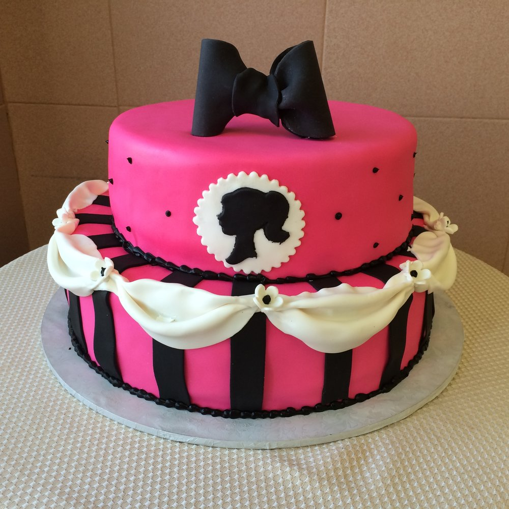 Pink Rolled Fondant, Barbie Silhoutte with Stripes, Drapes & Bow.jpg