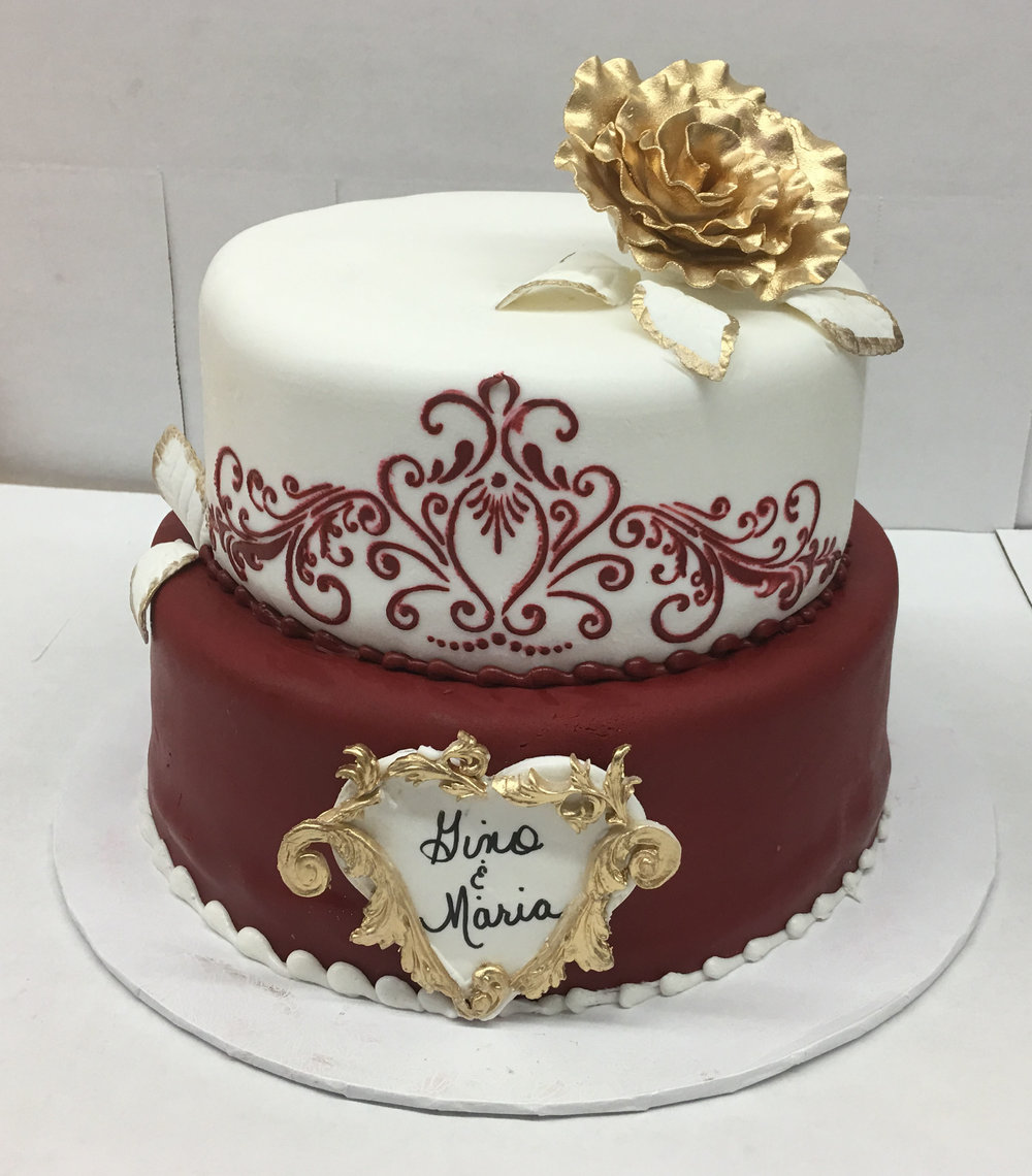 Ruby Red & White Rolled Fondant with Stencil, Cameo & Gold Rose .jpg