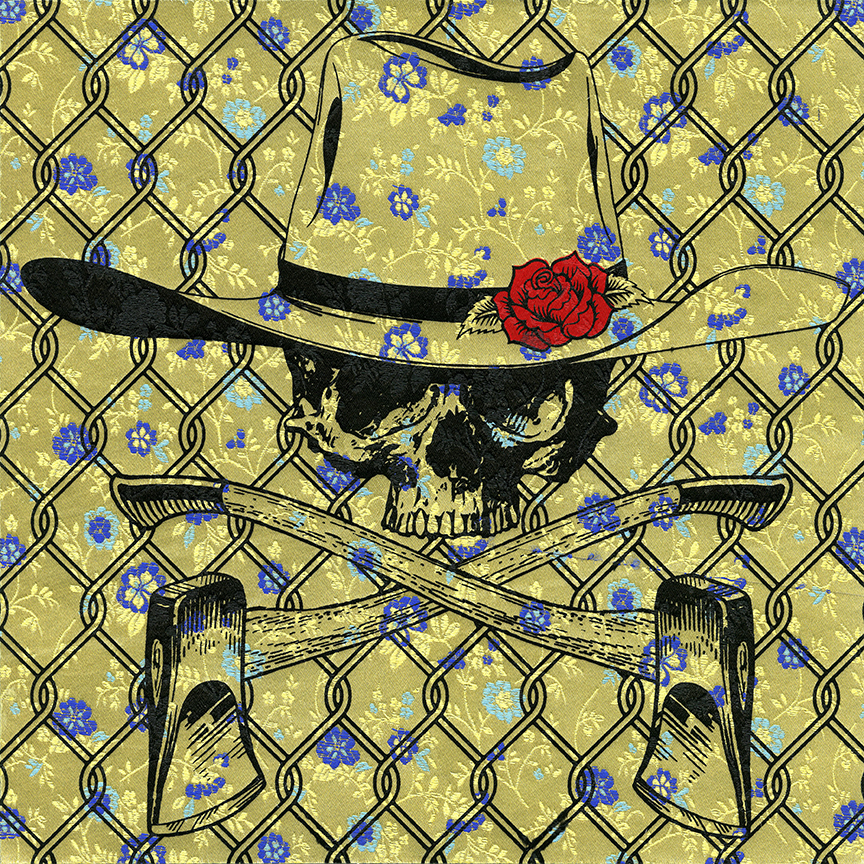 Bad Hombre (Deluxe)   Monoprint.  2-color screen print on floral, metallic gold, Japanese book cloth. 12x12 inches.
