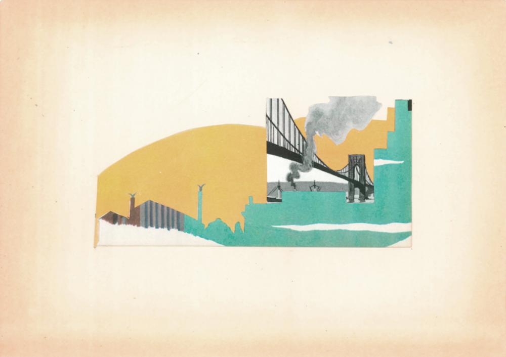 "Brooklyn Summer (Physical Collage - 2014) [Price: $450 - Framed: 15"" x 12.25"" - Unframed: 9.75"" x 7""]"