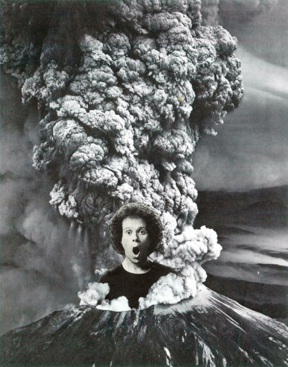 Mt. Simmons Explodes (Physical Collage - 2013)