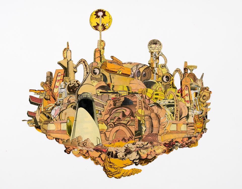 "Gold Mega City (Analog Collage - 2016 -17.5"" x 14"")"