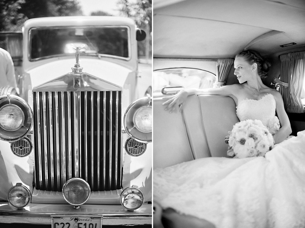 Bride anticipates wedding ceremony in vintage Rolls Royce.