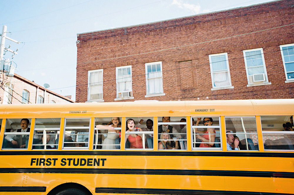 Bridal Party having fun on a school bus in Monticello, Illinois.