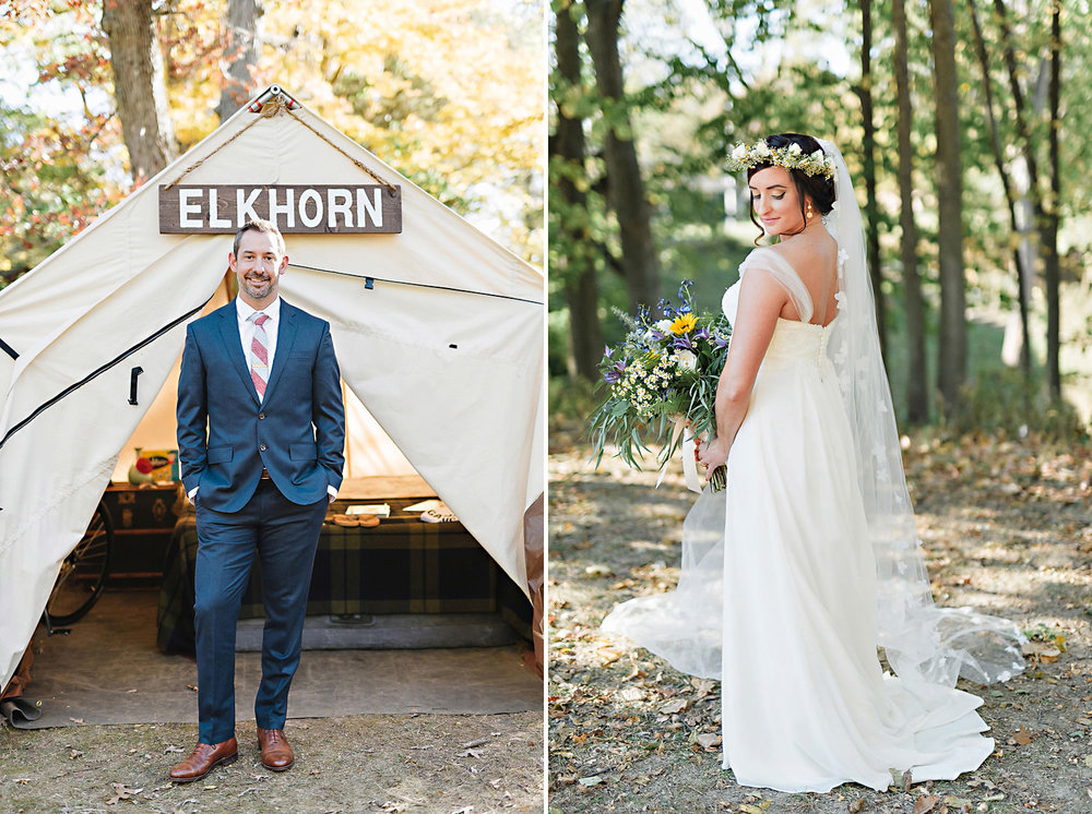 Bride and groom portraits at Camp Sha-Wa-Nas-See.