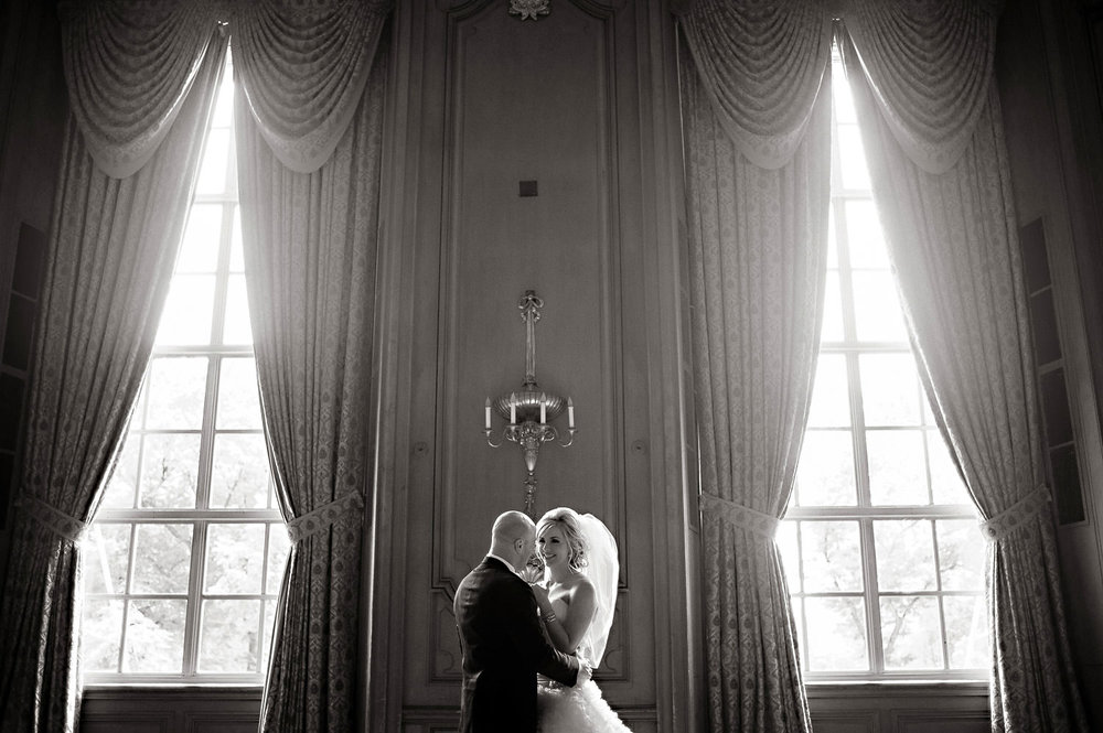 Bride and groom portrait in the Hilton Chicago Wedding