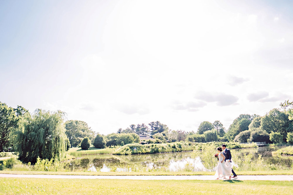 Bride and Groom Walking in a landscape