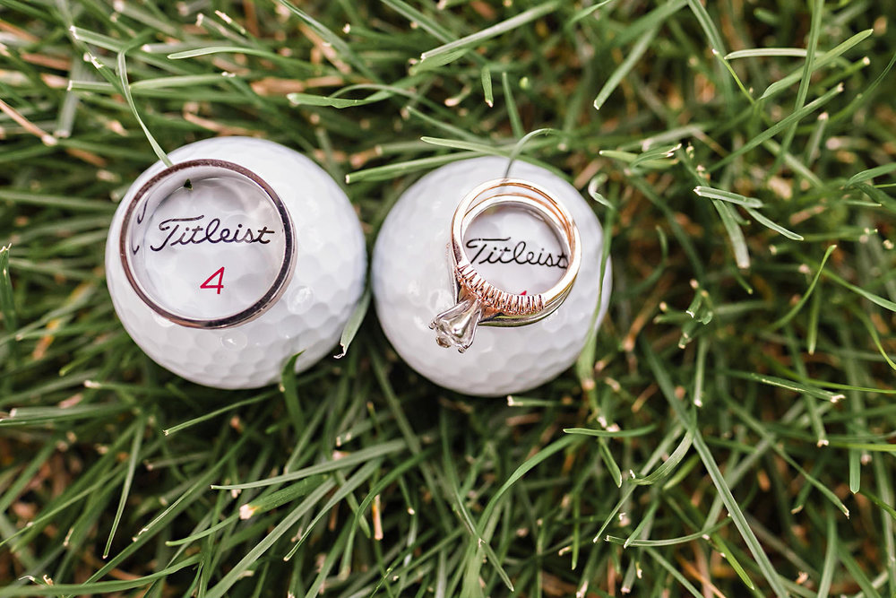 Wedding Rings on Golf Balls
