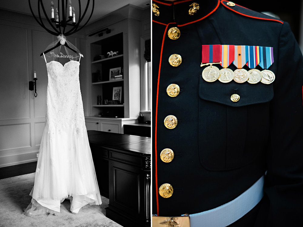 Wedding Dress and Marine Dress Blues
