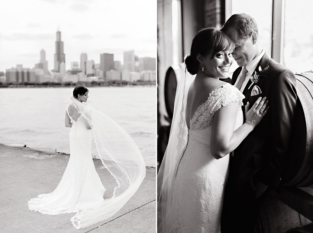 A bride and groom portrait in front of the Chicago Skyline.