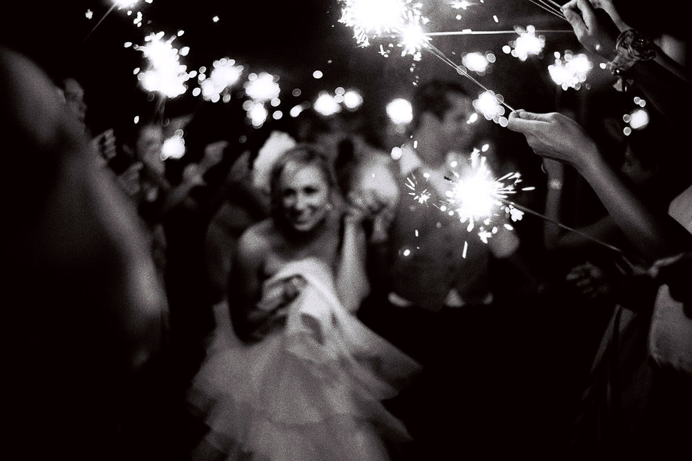 Bride and Groom Sparkler Exit