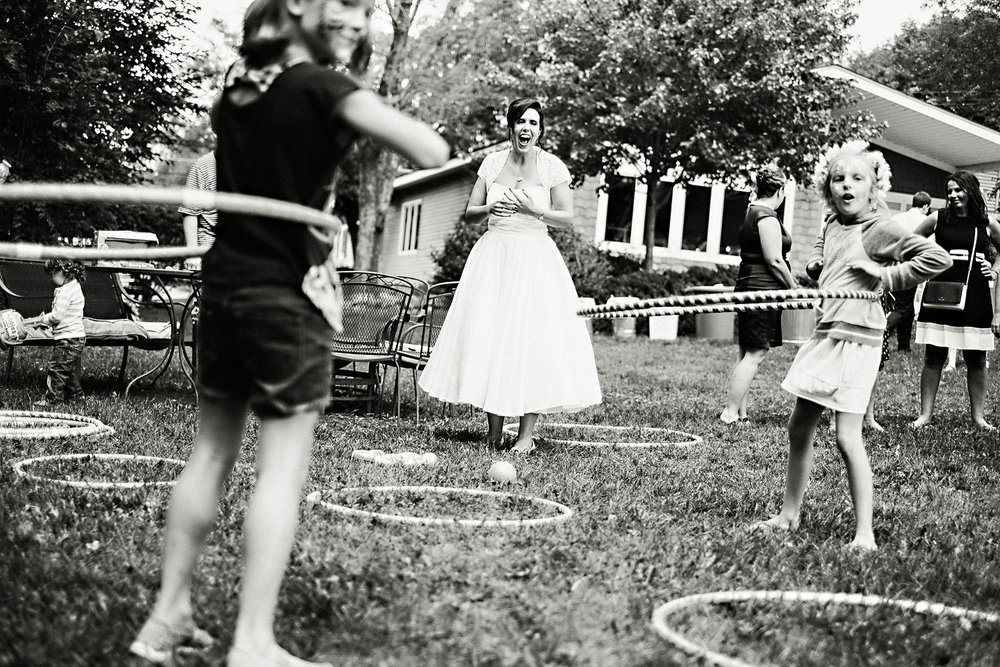 Bride Hula Hoops with kids