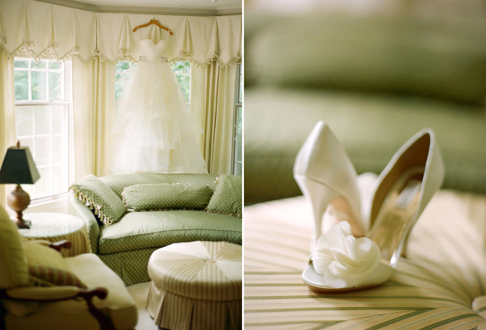 Wedding dress and wedding shoes