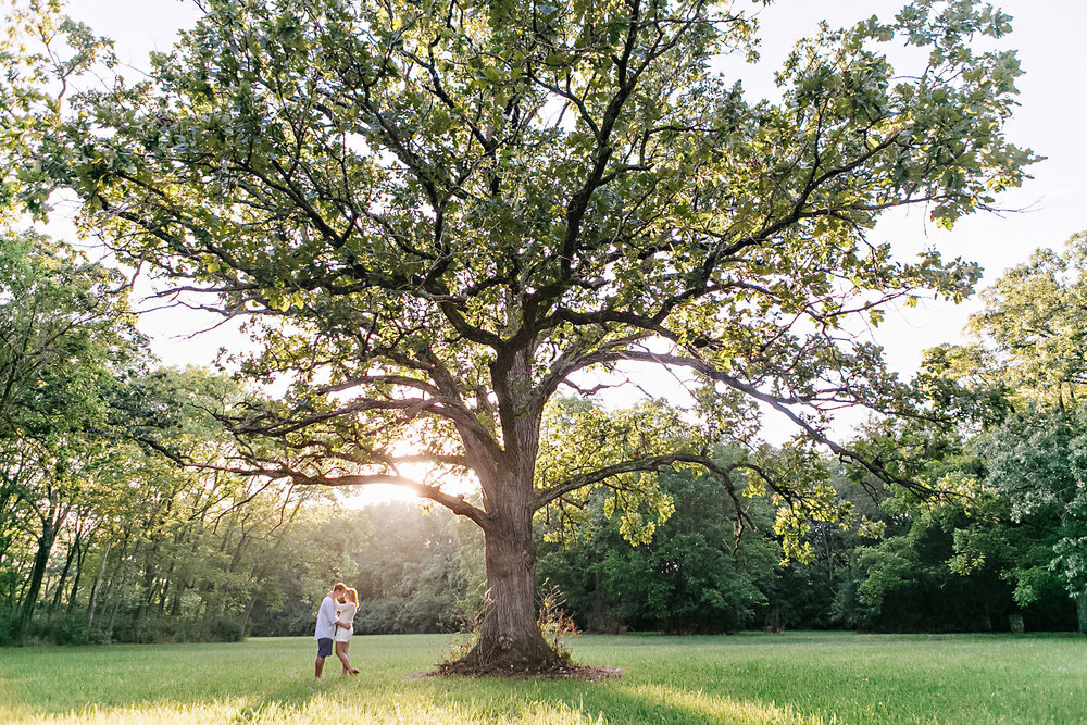 Engagement portrait under an oak tree
