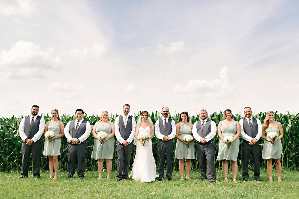 Wedding party photo in a cornfield