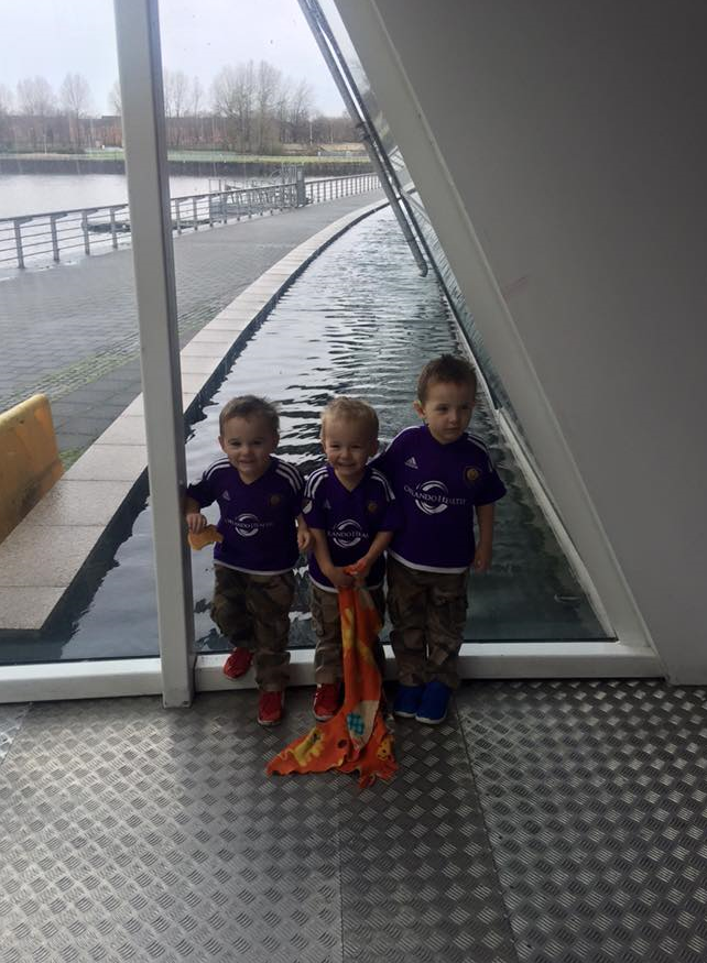 Cannon and his twin brothers, Arran and Gray, representing Orlando City Soccer Club at the Glasgow Science Center.