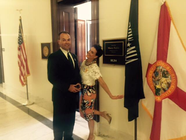 Michael and Melissa Wiggins outside Senator Marco Rubio's office