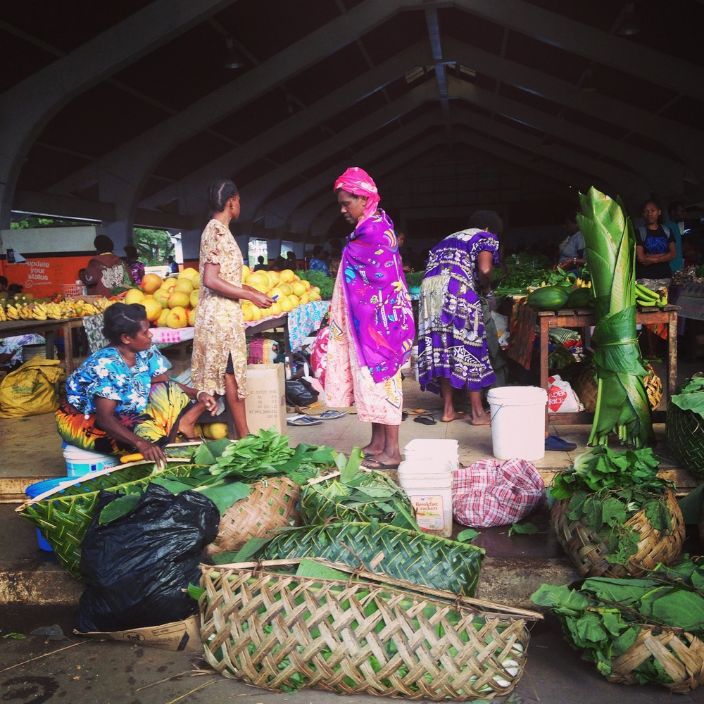 Palm frond baskets, plastic bag. Port Vila markets