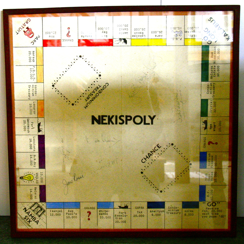 Monopoly board, culture clash.