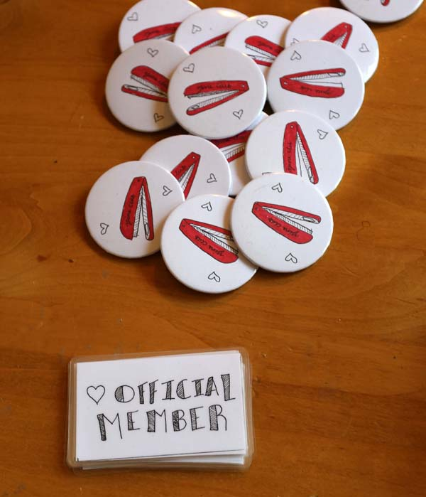 Amazing buttons and membership cards made by Emmeline