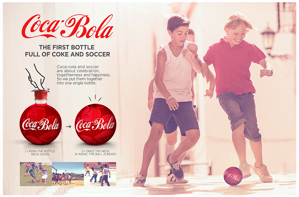 Sometimes simplicity is what makes an idea great. Coca-Bola is the answer to Coca-Cola's movement brief for Latin America. They wanted people to associate the brand with wellness, happiness and togetherness. This idea will make thousands of kids lose calories while they have fun with the sport they love.