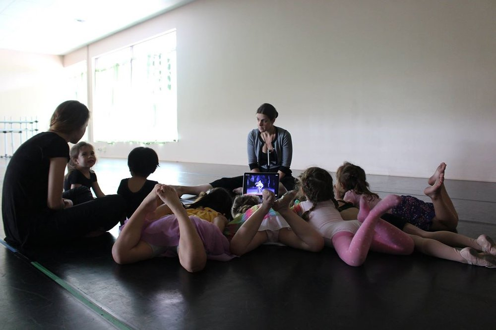 Dancers gather to watch a short clip from our Ballet of the Day!